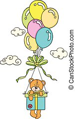 Teddy bear flying with box gift and balloons