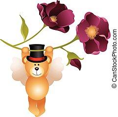 Teddy bear flying with flower