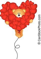 Teddy bear flying with heart balloo