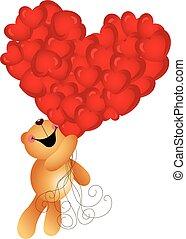 Teddy bear flying with heart balloons