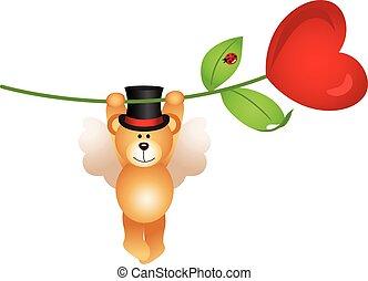 Teddy bear flying with heart flower