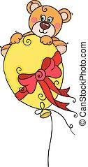 Teddy bear flying with yellow balloon