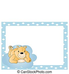 Teddy bear for babyboy. baby arrival announcement