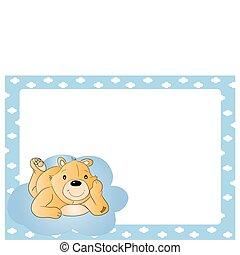 Teddy bear for babyboy. baby arrival announcement