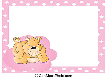 Teddy bear for babygirl. baby arrival announcement