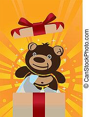 Teddy bear gift - Cute teddy bear inside a gift box.