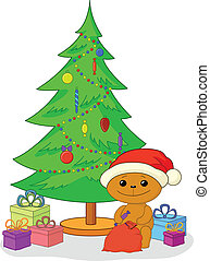 Teddy bear, gifts and Christmas tree