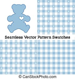 Teddy Bear, Gingham Seamless Patterns, Pastel Blue