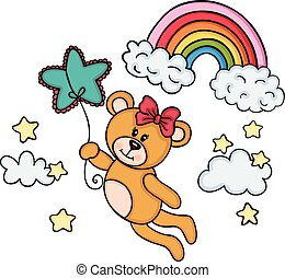 Teddy bear girl flying with star shaped balloon in sky with rainbow
