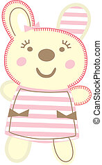 Teddy bear girl wearing a cute dress with pockets and hairpin