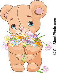 Teddy bear giving bouquet - Cute little Teddy bear giving a ...