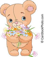 Teddy bear giving bouquet - Cute little Teddy bear giving a...