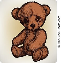 Teddy bear, hand drawing, vector illustration..eps