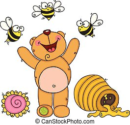 Teddy bear happy on garden with bees and honey