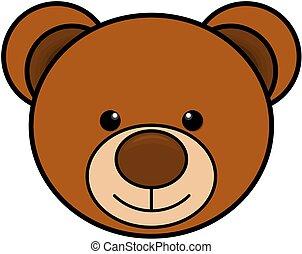 Teddy bear head icon. Cute toy clipart. Vector illustration.