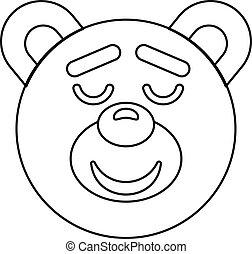Teddy bear head icon, outline style