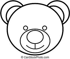 Teddy bear head outline icon. Vector illustration.