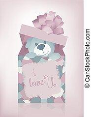 teddy bear heart pillow