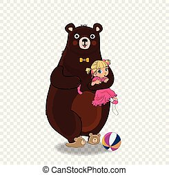Teddy Bear Hold Little Baby Girl in Pink Dress