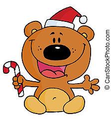 Teddy Bear Holding A Candy Cane
