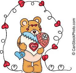 Teddy bear holding a handmade heart