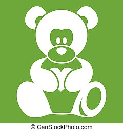 Teddy bear holding a heart icon green