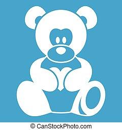 Teddy bear holding a heart icon white