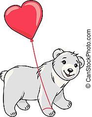 Teddy bear holding a heart shaped balloon