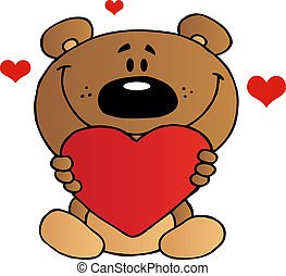 Teddy Bear Holding A Red Heart