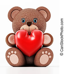 Teddy bear holding a red heart isolated on white background. 3D illustration