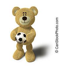 Teddy Bear - Holding a soccer ball