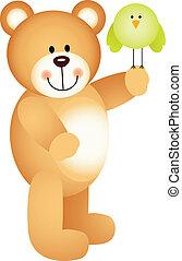 Teddy bear holding bird in the hand
