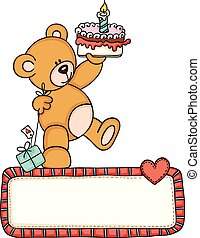 Teddy bear holding birthday cake and gift with love blank sign