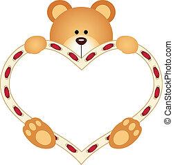 Teddy Bear holding Blank Heart - Scalable vectorial image...