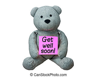 Get well soon stock photos and images 507 get well soon pictures teddy bear holding card get well soon isolated altavistaventures Choice Image
