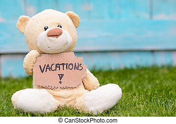 Teddy bear holding cardboard with information Vacations