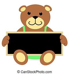 Teddy Bear Holding Chalkboard