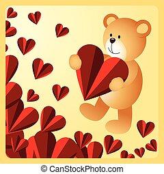 Teddy bear holding heart