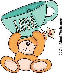 Teddy bear holding love tea cup