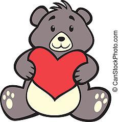 teddy bear hugging heart