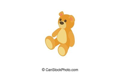 Teddy bear animation of cartoon icon on white background