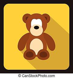 Teddy bear icon, flat style