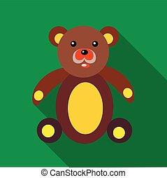 Teddy bear icon in flat style