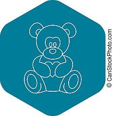 Teddy bear icon, outline style