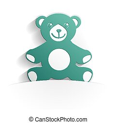 teddy bear icon paper