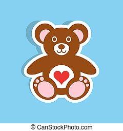 Teddy bear icon with heart