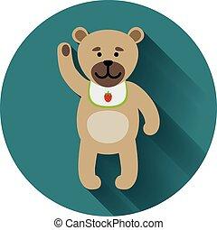 Teddy bear icon with shadow