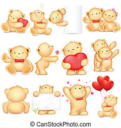 Teddy Bear - illustration of teddy bear in different pose ...