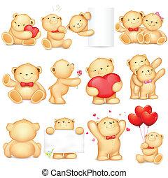 Teddy Bear - illustration of teddy bear in different pose ...