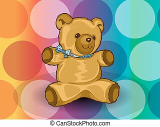 Teddy Bear, illustration - Teddy Bear, with blue ribbon, ...
